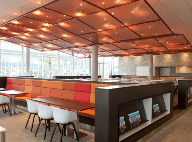 Shared facility center stoffering vaste banken modern bedrijfsrestaurant ontworpen door zenber - Moderne stoffering ...